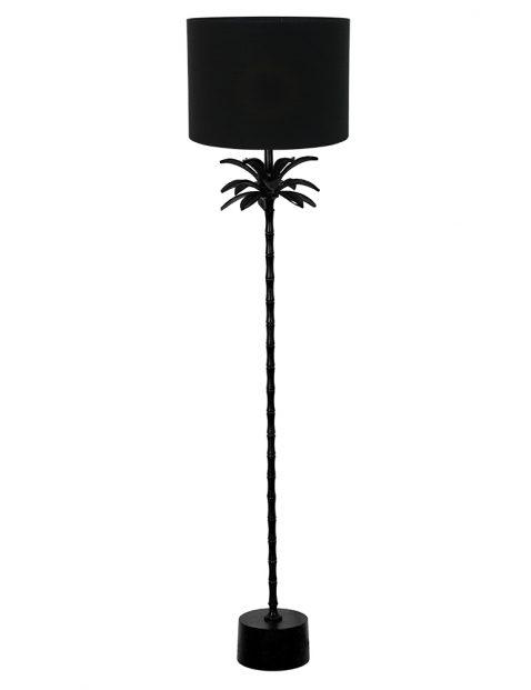Staande lampenvoet palm met zwarte kap Light & Living Armata zwart