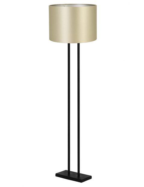 Rechthoekige lampenvoet vloer met gouden kap Light & Living Shiva zwart