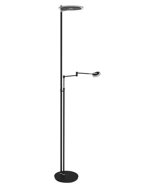Design vloerlamp naast de sofa Steinhauer Turound zwart met glas