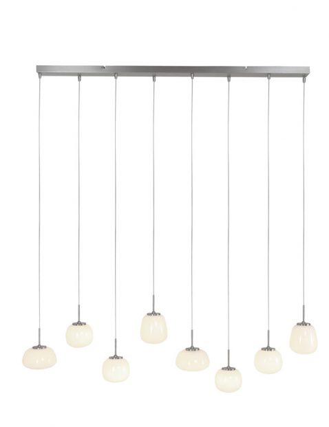 Hanglamp met acht glazen bollen Steinhauer Bollique staal met wit glas