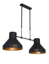 Dubbele hanglamp, zwart met goud 2568ZW