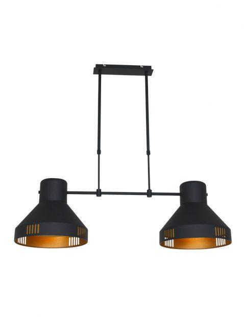 Stoere dubbele hanglamp Mexlite Evy zwart met goud