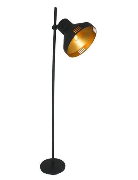 Vloerlamp met grote kap Mexlite Evy zwart met goud