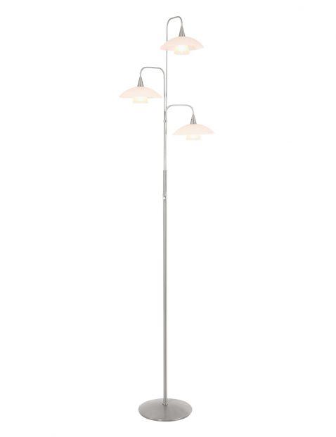 Drielichts staande lamp Steinhauer Tallerken staal