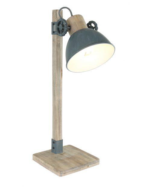 Landelijk tafellampje Mexlite Gearwood hout met grijs