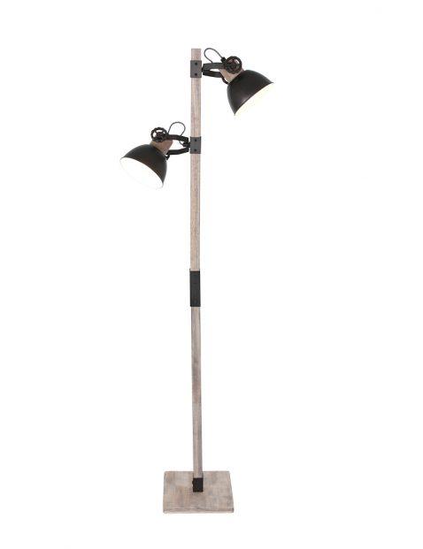 Houten vloerlamp met zwarte kapjes Mexlite Gearwood