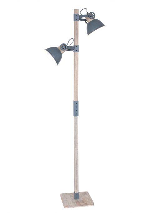 Houten vloerlamp met grijze kapjes Mexlite Gearwood