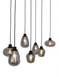 Rookglas eettafellamp Steinhauer Reflexion zwart