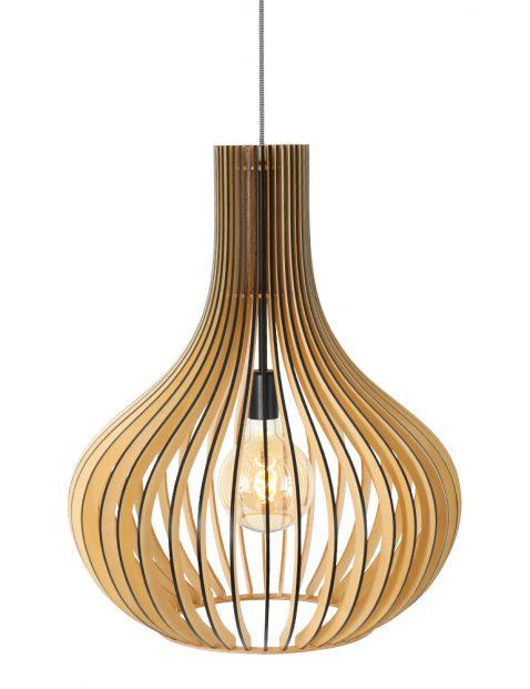 Houten hanglamp met spijlen druppel Steinhauer Smukt