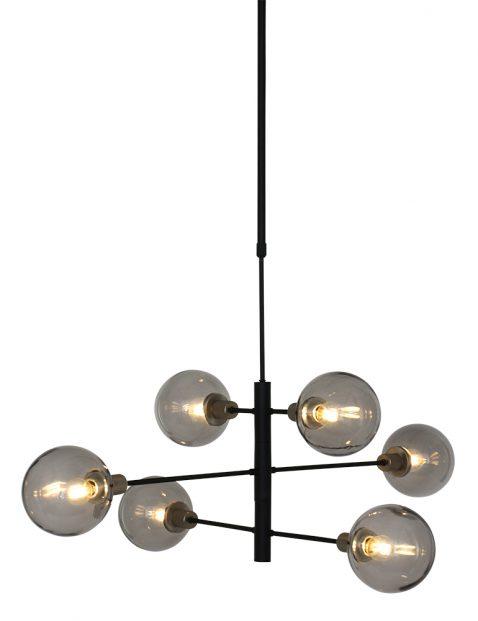 Hanglamp met rookglazen bollen Steinhauer Constellation zwart