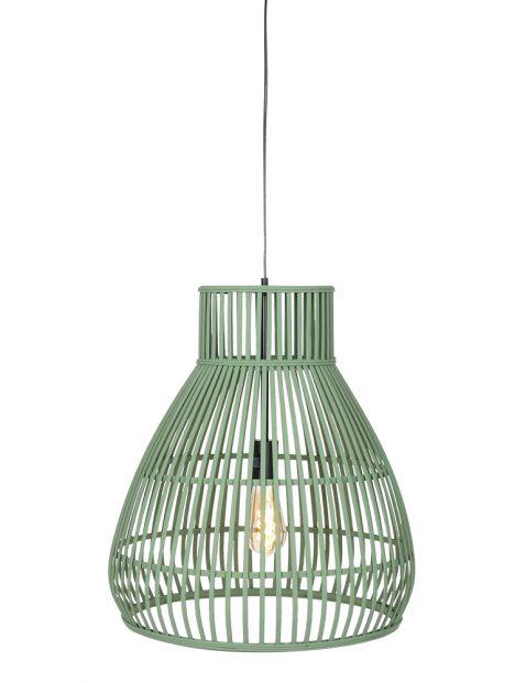Groene houten hanglamp rotan Light & Living Timaka