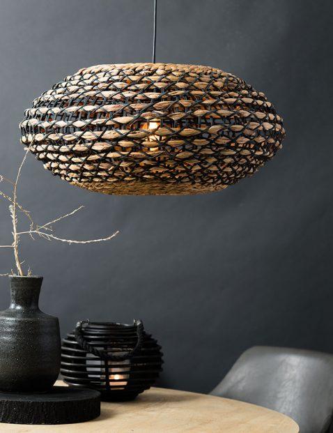 2933B-Ovale rotan hanglamp