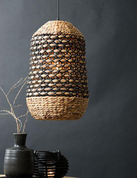 2937B-Rotan hanglamp met zwart