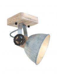 Stoere houten plafondspot Mexlite Gearwood nikkel