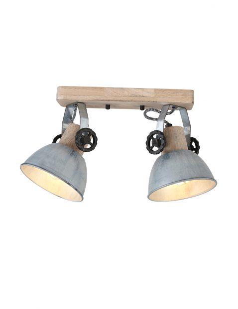 Dubbele houten plafondspot Mexlite Gearwood nikkel