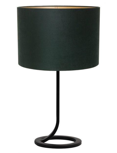 Vloeiende lampenvoet met groene kap Light & Living Mavey zwart