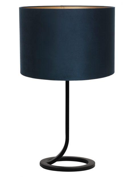 Vloeiende lampenvoet met blauwe kap Light & Living Mavey zwart