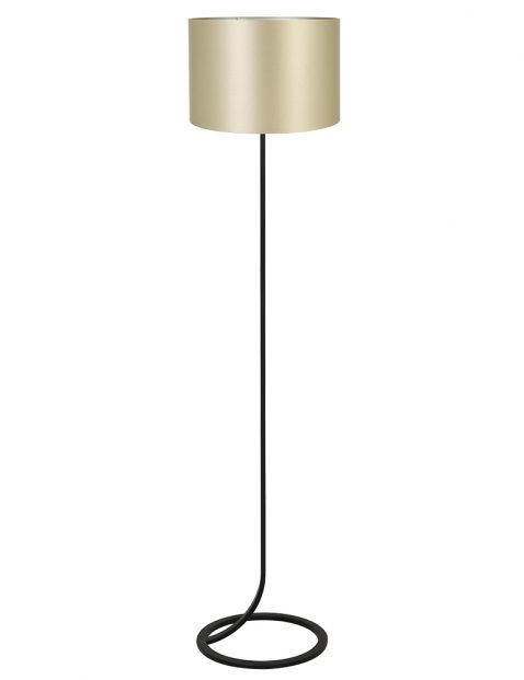 Vloeiende vloerlamp lampenvoet met gouden kap Light & Living Mavey zwart