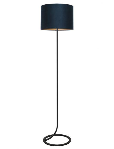 Vloeiende lampenvoet vloer met blauwe kap Light & Living Mavey zwart