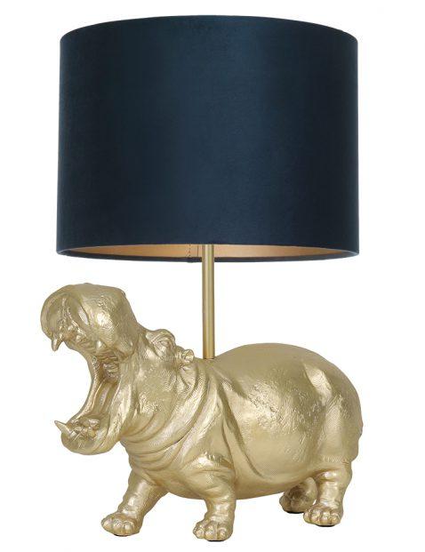 Tafellamp nijlpaar met blauwe kap Light & Living Hippo goud