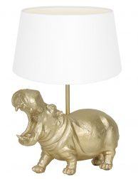 Lampenvoet nijlpaard met witte kap Light & Living Hippo goud