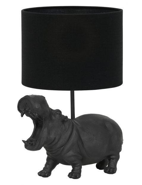 Nijlpaard lampenvoet met zwarte kap Light & Living Hippo zwart