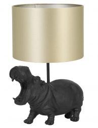 Lampenvoet nijlpaard met gouden kap Light & Living Hippo zwart