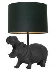 Lampenvoet nijlpaard met groen kap Light & Living Hippo zwart