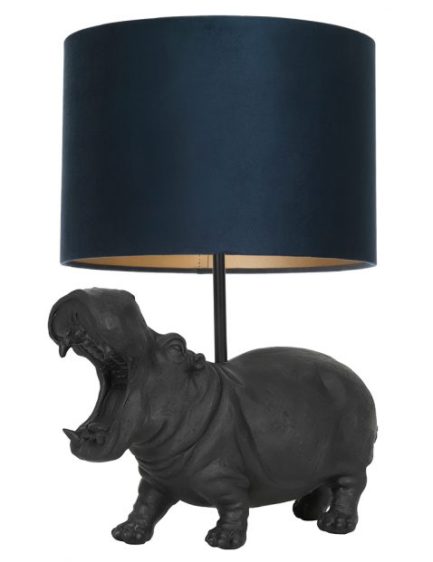 Nijlpaard lampenvoet met blauwe kap Light & Living Hippo zwart