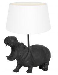 Nijlpaard lampenvoet met witte kap Light & Living Hippo zwart