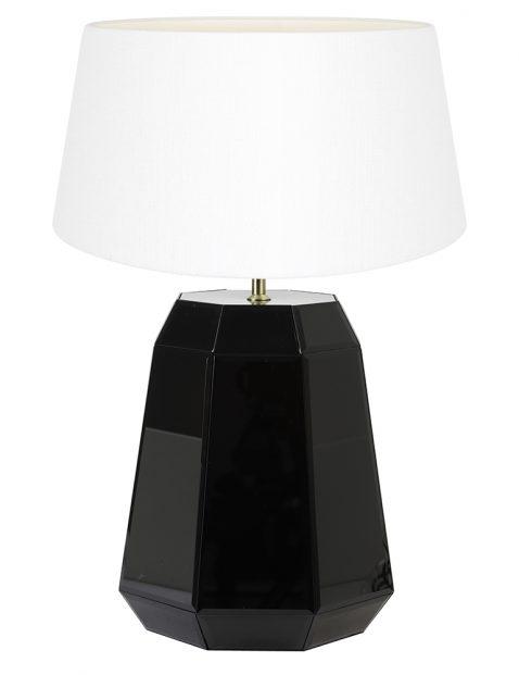 Glanzende lampenvoet met witte kap Light & Living Hector zwart