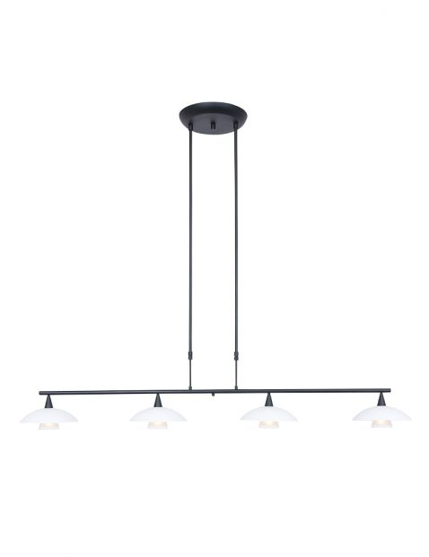 Zwarte eettafellamp met witte glaasjes