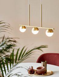 Drielichts hanglamp met bollen-3011ME