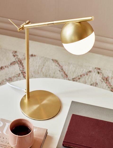 Gouden bureaulamp met glazen bol-3012ME
