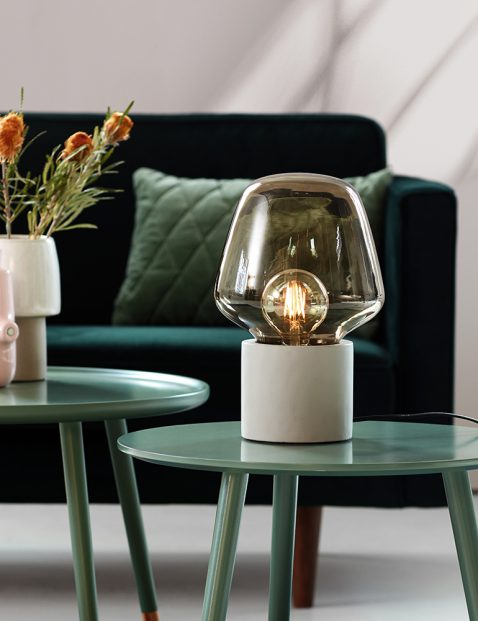 Tafellamp stolp rookglas-3022GR
