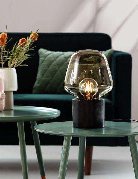 Tafellamp rookglas op betonnen voet-3022ZW