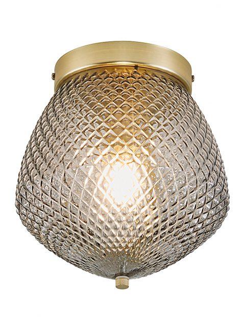 Rookglazen plafondlamp met diamantpatroon-3024ME