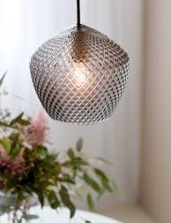 Rookglazen hanglamp met reliëf-3025ZW