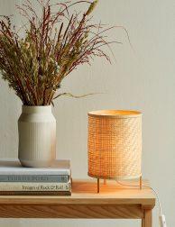 Ronde geweven bamboe tafellamp-3030B