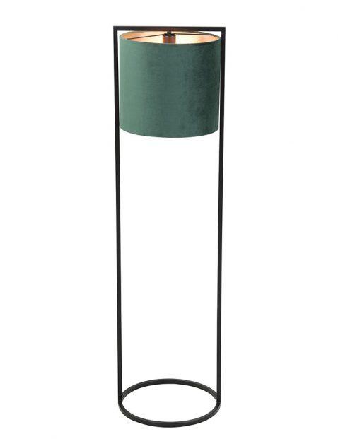 Zwarte vloerlamp met groene aaibare kap-