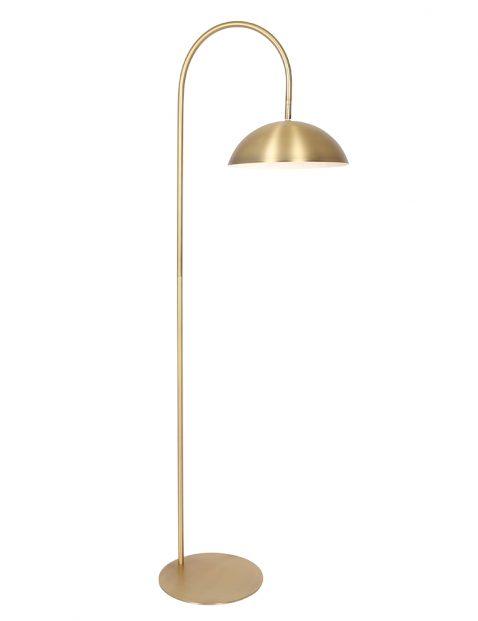 Gouden vloerlamp met gebogen arm-