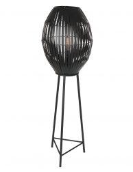Zwarte driepoot vloerlamp met zwarte bol-