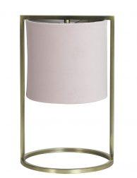 Gouden sfeerlamp met zacht roze kap-