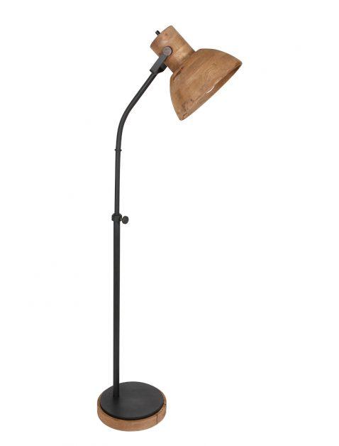 Staande schemerlamp met houten kap-