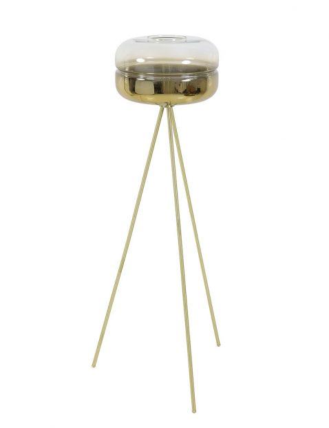 Vloerlamp goud met glas op driepoot-