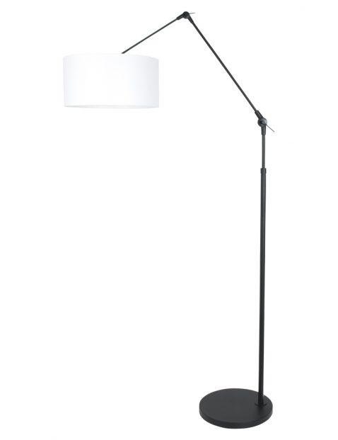 Verstelbare staande lamp met witte kap zwart - 8112ZW