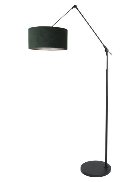 Knikbare vloerlamp met groene kap zwart - 8115ZW