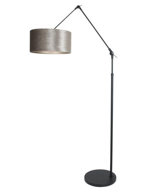 Knikbare booglamp met grijze kap zwart - 8116ZW