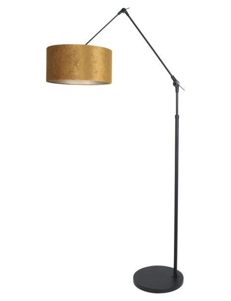 Verstelbare staande booglamp met gouden kap zwart - 8117ZW