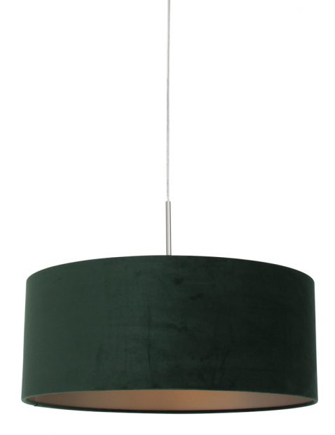 Hanglamp met ronde groene kap staal - 8148ST